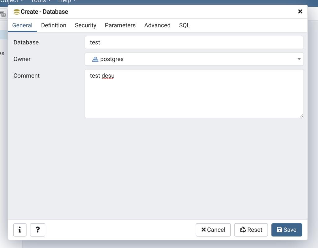 新しいデータベースを作成_名前とコメント