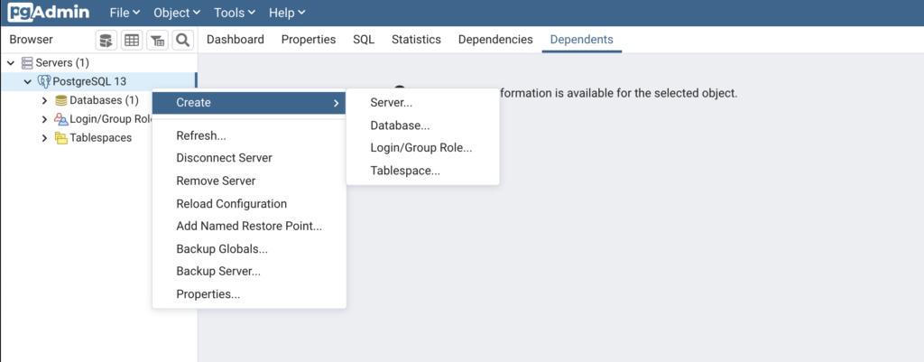 新しいデータベースを作成_create