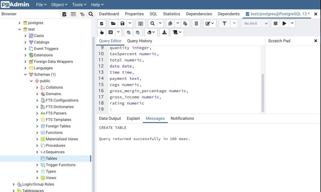 新しいテーブルを作成_create文を実行