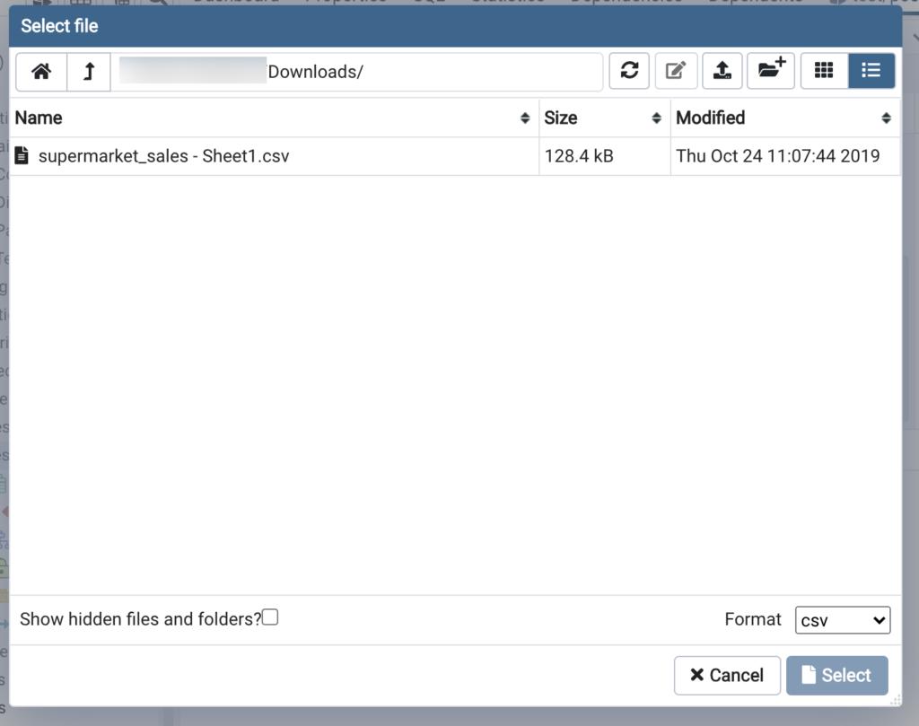新しいテーブルを作成_csvファイルを入れる