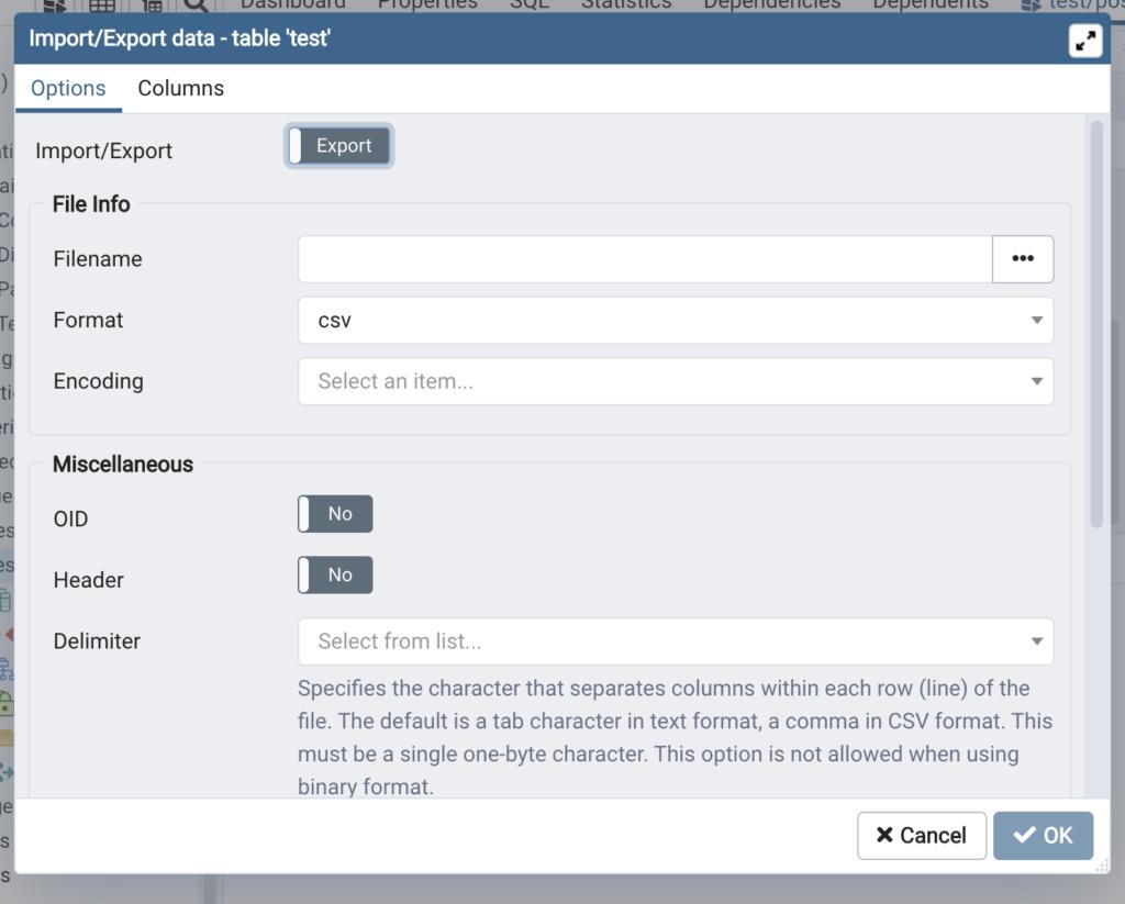 新しいテーブルを作成_importの画面